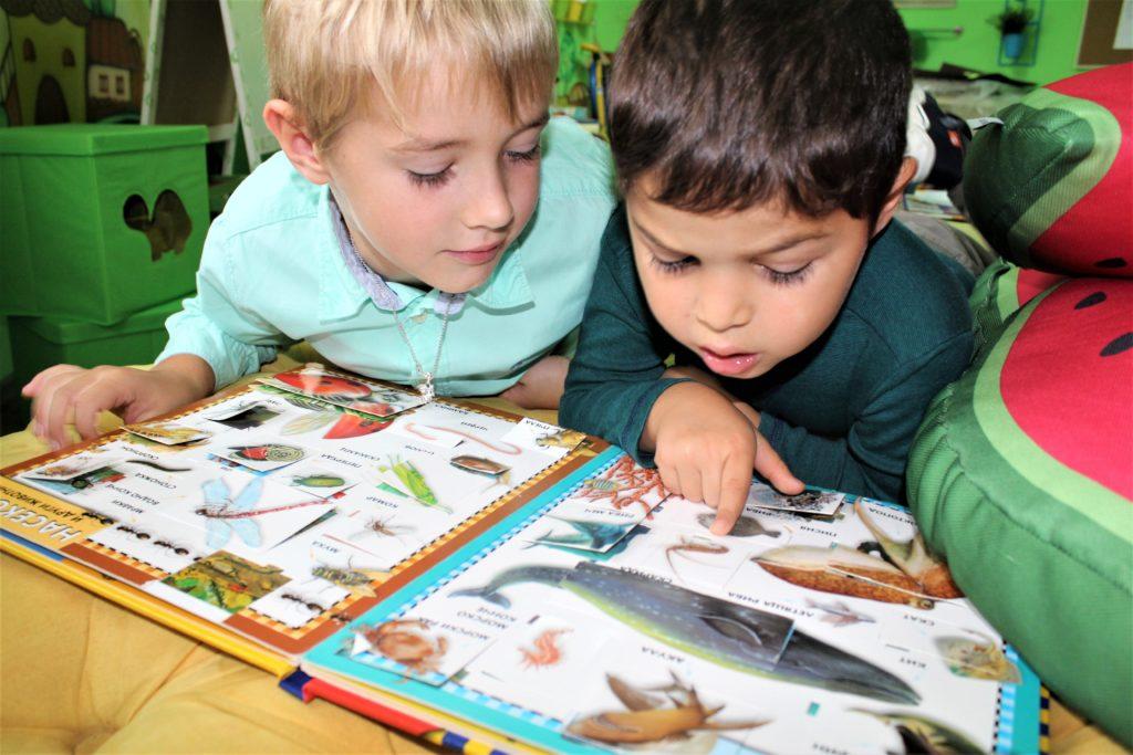 Деца разглеждат енциклопедия